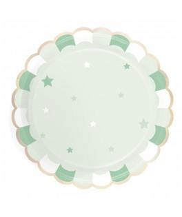 8 Grandes assiettes vert pastel
