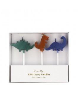 6 Bougies d'anniversaire Dinosaure