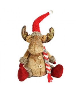 Rudolphe bonnet rouge assis