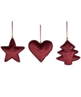 Décoration coeur / arbre / étoile velours rouge