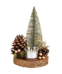 Pièce de table rond av/bougie/arbre, or,