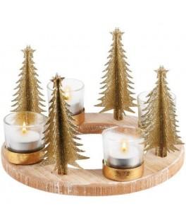 Centre de table bois Arbre ou Renne de Noël & 4 photophores