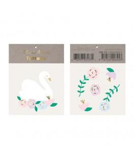 Tatouages temporaires Cigne & fleurs