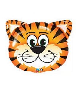 Ballon alu Animal tête de Tigre rigolo (30'' - 76 cm)