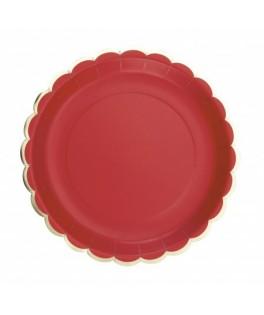 8 Assiettes festonnes rouge et or