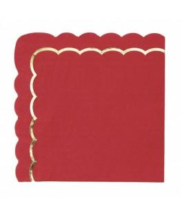 16 Serviettes festonnes rouge et or