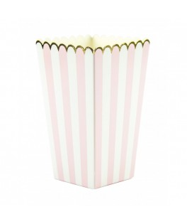 8 Boîtes à popcorns rayures rose/blanc/or