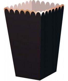 8 Boîtes à popcorn rayures noir/or
