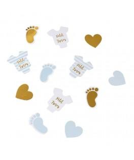 100 Confettis de table Petit Trésor bleu ciel
