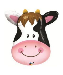 Ballon alu Animal tête de vache heureuse (32'' - 81 cm)