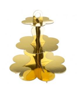 Présentoir à gâteaux métallisé or 3 étages - 34 cm