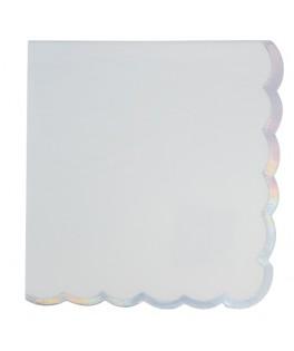 16 Serviettes blanches festonnées or