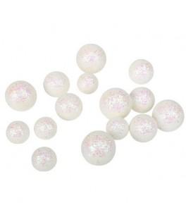 Boules polystyrène paillettes blanches