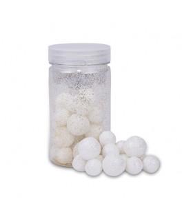 Boules polystyrène paillettes blanches irisées