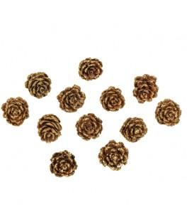 12 Mini pommes de pin paillettes or 2,5 cm