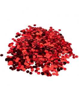 Boîte de confettis ronds métallisés rouge
