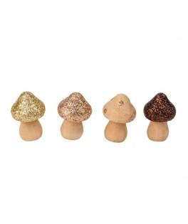 4 Champignons bois paillettes