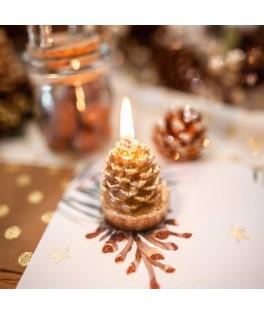3 Petites bougies Sapin pailletées or