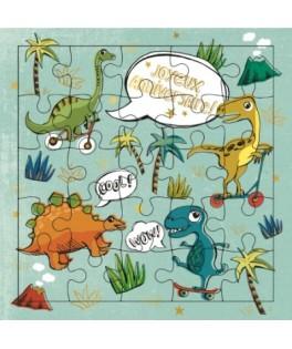 Carte Puzzle Joyeux Anniversaire Dinosaure