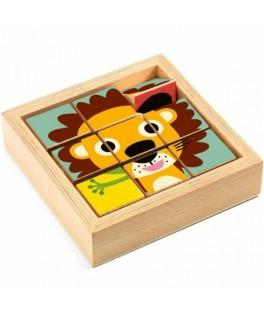 9 cubes puzzle bois - Tournanimo - DJECO