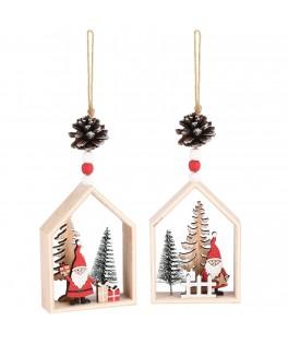 Suspension Maison en bois Père Noël