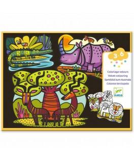 Coloriage velours Animaux de la savane - DJECO