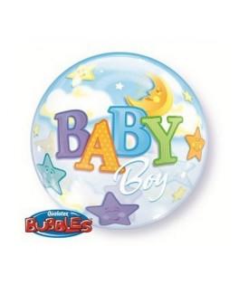 Ballon single Bubble Baby Boy Lune & Etoile