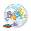 Ballon Bubble Baby Boy Lune & Etoile - 56 cm