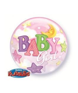 "Ballon single Bubble Baby Girl Lune & Etoile (22"" - 56 cm)"