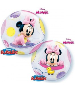 Ballon single Bubble Baby Minnie rose