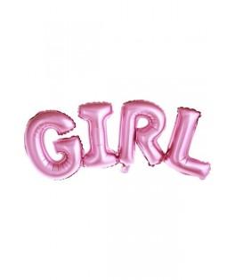 Ballon alphabet GIRL rose