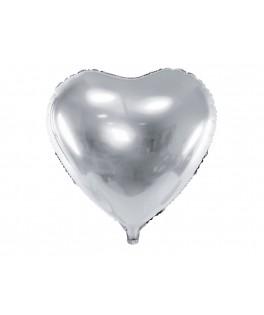 Ballon Coeur métallisé argent 61 cm