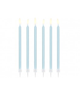 12 Longues bougies d'anniversaire bleu pastel