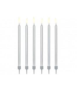 12 Longues bougies d'anniversaire argentées