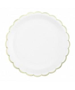 8 Grandes assiettes blanches festonnées or