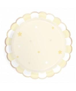 8 Grandes assiettes jaunes festonnées or