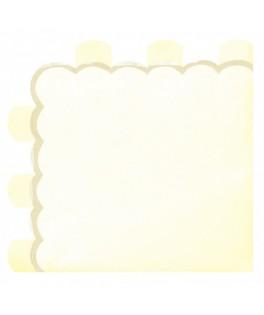 16 serviettes jaunes festonnées or