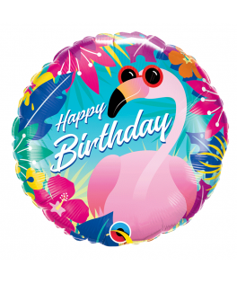 Ballon Happy Birthday Tropical Flamingo - 46 cm
