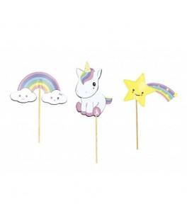 Set de 3 cake toppers Baby Licorne