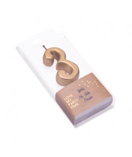 Bougie Chiffre 3 métal dorée