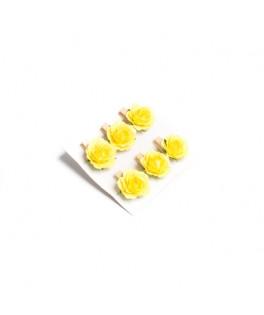 6 Roses jaunes sur pince