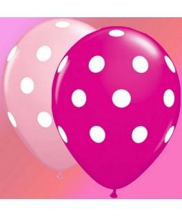 Ballons gros pois roses & fushia  x25