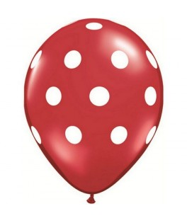 """Ballons latex gros pois rouge (11"""" - 28 cm) x25"""