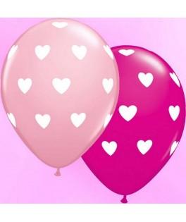 "Ballons latex gros cœurs Rose & Fushia (11"" - 28 cm) x25"