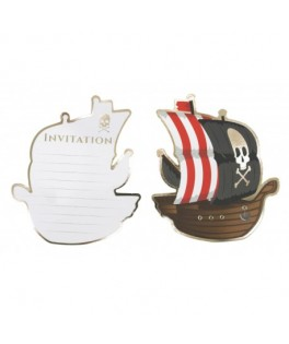 8 Invitations Bateau de pirate noir & or