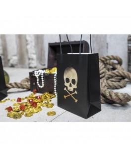 4 Sacs en papier Bateau de pirate noir & or