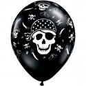 25 Ballons latex Pirate tête de mort Noir