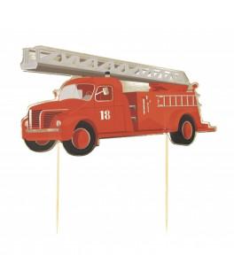 6 Pics à gâteau Pompier rouge