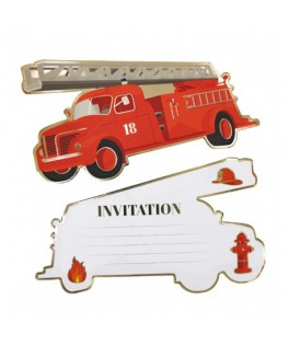 8 Invitations Camion de Pompier rouge