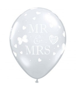 50 Ballons latex transparents Mr & Mrs